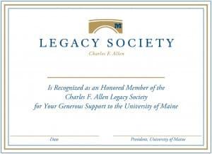 Legacy Society Membership Certificate